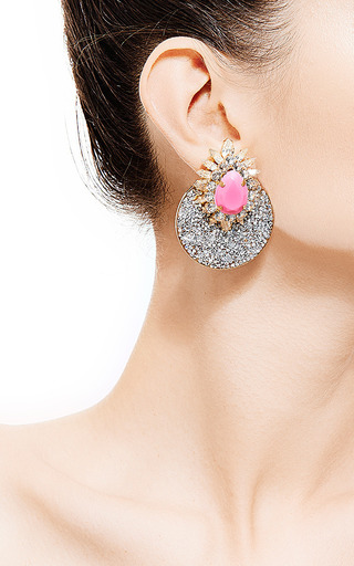 Luna Gold-Plated Crystal Earrings by Shourouk for Preorder on Moda Operandi