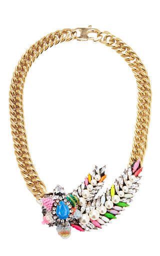 Pimp Aigrette Crystal and Sequin Gold-Plated Necklace by Shourouk Now Available on Moda Operandi