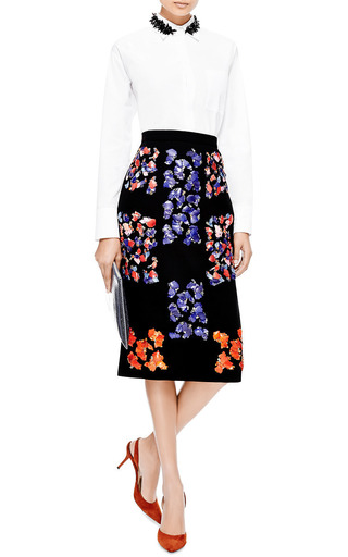 Cam Embellished Wool-Crepe Skirt by Peter Pilotto Now Available on Moda Operandi