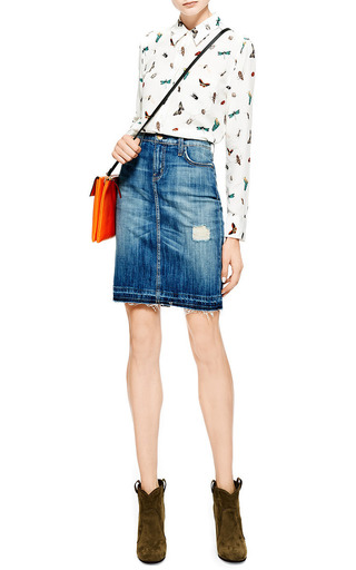 Jodie Distressed Denim Skirt by Current/Elliott Now Available on Moda Operandi