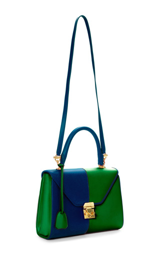 M'O Exclusive: Small Scottie In Two-Tone Blue And Green Calf Leather by Mark Cross for Preorder on Moda Operandi