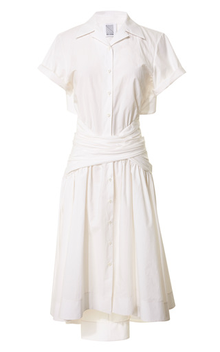 Fine Cotton Poplin Tie Shirt Dress by Rosie Assoulin Now Available on Moda Operandi
