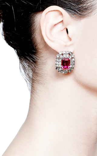 Vintage Violet Emerald-Cut Earrings by Carole Tanenbaum for Preorder on Moda Operandi