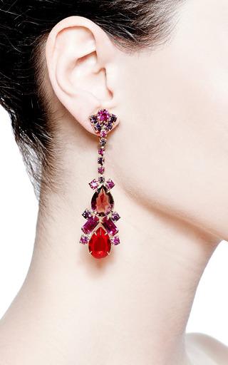 Vintage Long Red And Purple Drop Earrings by Carole Tanenbaum for Preorder on Moda Operandi