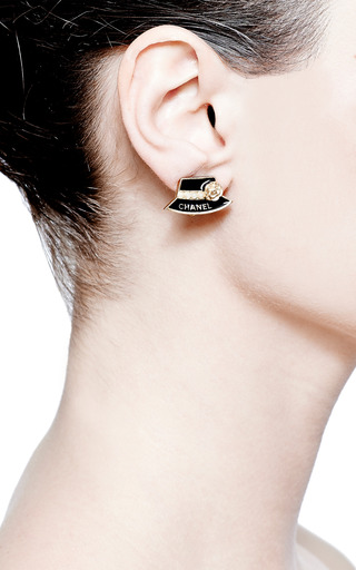 Vintage Chanel Black Hat Earrings by Carole Tanenbaum for Preorder on Moda Operandi