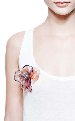 Vintage Pink Resin Flower Pin by Carole Tanenbaum for Preorder on Moda Operandi