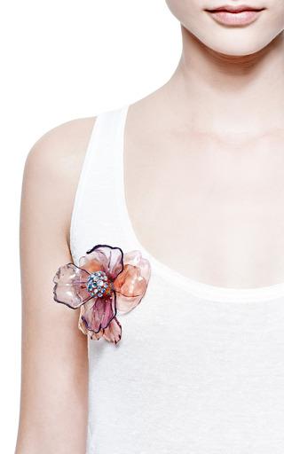 Vintage Pink Resin Flower Pin by Carole Tanenbaum for Preorder on Moda Operandi