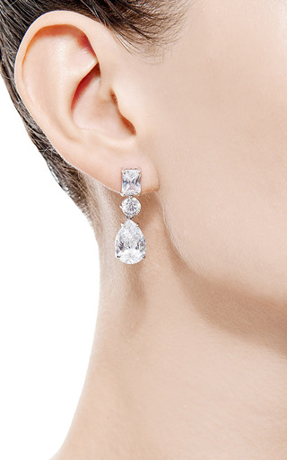 Triple Crystal Drop Earrings by Fallon Now Available on Moda Operandi