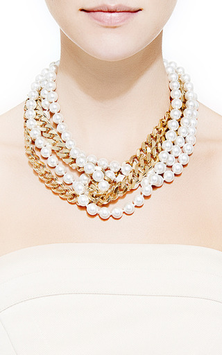 Faux Pearl and Gold-Plated Chain Necklace by Fallon for Preorder on Moda Operandi
