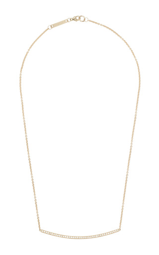 14K Pave Curved Bar Necklace by Zoe Chicco for Preorder on Moda Operandi