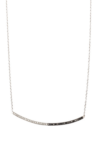 14K Pave Black & White Curved Bar Necklace by Zoe Chicco for Preorder on Moda Operandi