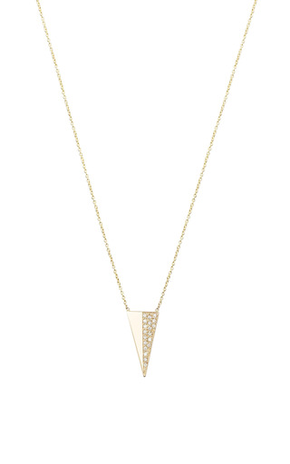 14K Long Pave Triangle Necklace by Zoe Chicco for Preorder on Moda Operandi