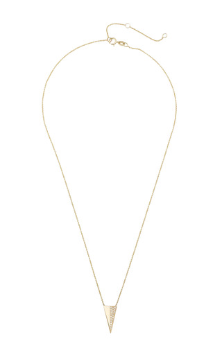 Zoe Chicco - 14K Long Pave Triangle Necklace