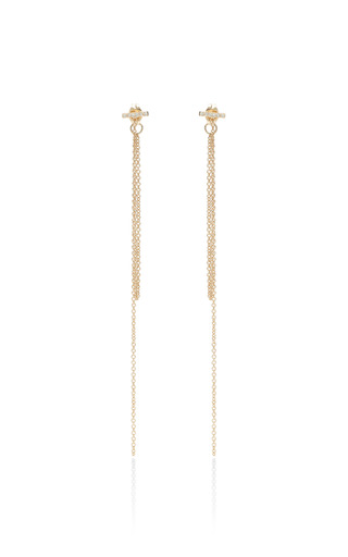 14K Pave Chain Fringe Studs by Zoe Chicco for Preorder on Moda Operandi