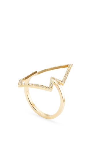 14 K Pave Open Arrowhead Ring by ZOE CHICCO for Preorder on Moda Operandi