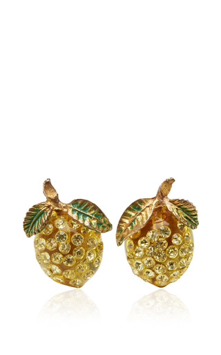 Carole Tanenbaum Vintage Yellow Lucite Lemon Earrings by Carole Tanenbaum for Preorder on Moda Operandi