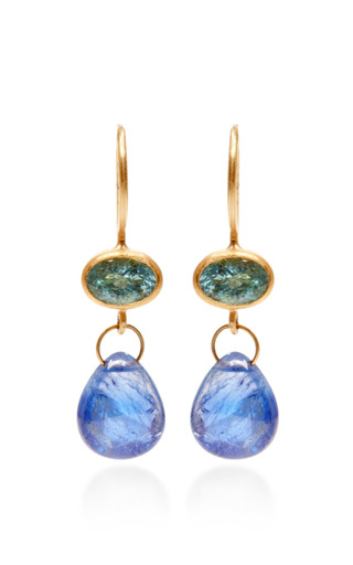 Mallary Marks - One of a Kind Oval Paraiba and Blue Cabochon Sapphire Apple and Eve Earrings