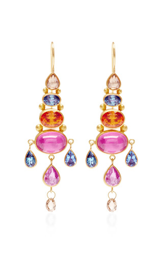Mallary Marks - Rose Cut Pear Shape Brown Diamond Chandelier Earrings