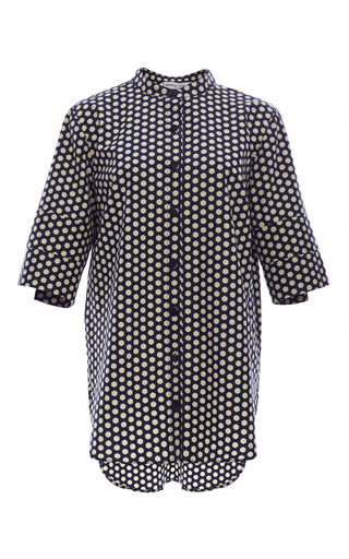 Solid navy hex leandro button up shirt by APIECE APART Preorder Now on Moda Operandi