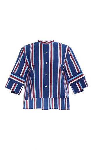 Large stripe leandro cropped button up by APIECE APART Now Available on Moda Operandi