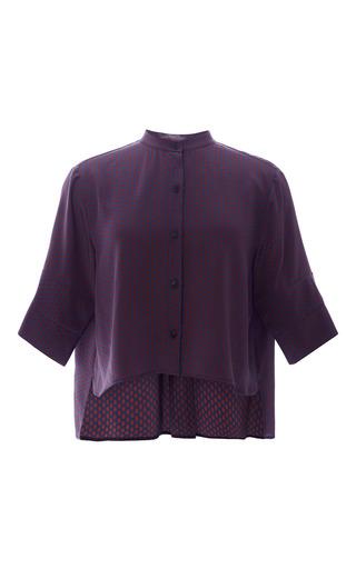 Small navy hex leandro crop shirt by APIECE APART Preorder Now on Moda Operandi
