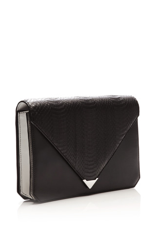 Prisma Envelope Clutch In Black Rubberized Snake by Alexander Wang for Preorder on Moda Operandi