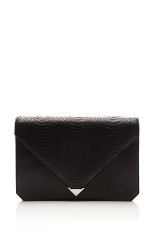 Prisma envelope clutch in black rubberized snake by ALEXANDER WANG Preorder Now on Moda Operandi