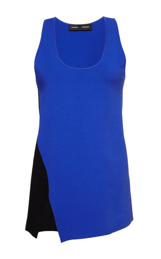Colorblocked compact viscose sleeveless asymmetric tank by PROENZA SCHOULER Preorder Now on Moda Operandi