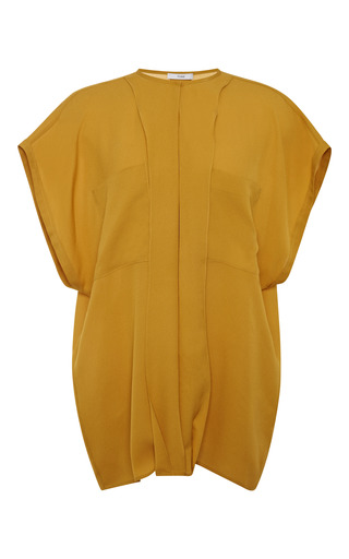 Pebble georgette sleeveless shirt in mustard by TOME Preorder Now on Moda Operandi