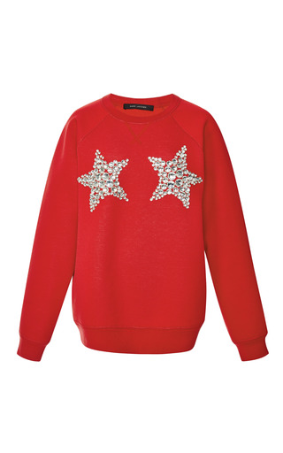 Red star embroidery sweatshirt by MARC JACOBS Preorder Now on Moda Operandi