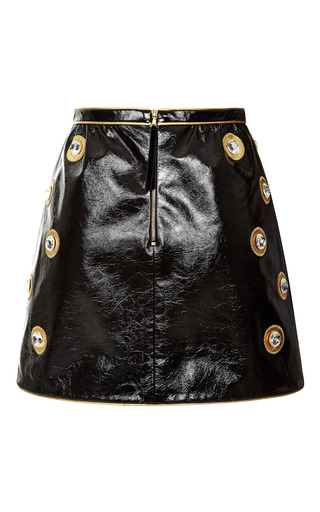 Black Crinkle Leather Mini Skirt by Marc Jacobs for Preorder on Moda Operandi