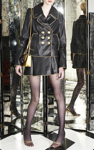 Black Leather Pleated Mini Skirt by Marc Jacobs for Preorder on Moda Operandi