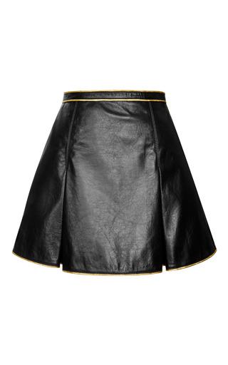 Black leather pleated mini skirt by MARC JACOBS Preorder Now on Moda Operandi