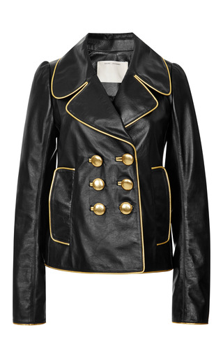 Black leather double breasted jacket by MARC JACOBS Preorder Now on Moda Operandi