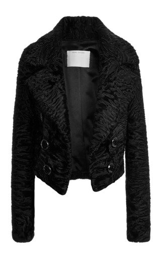 Black glossy astrakhan cropped jacket by MARC JACOBS Preorder Now on Moda Operandi