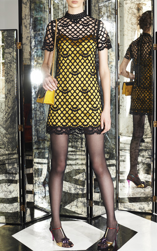 Marc Jacobs - Gold Duchess Satin Tank Dress With Short Sleeve Guipure Overlay