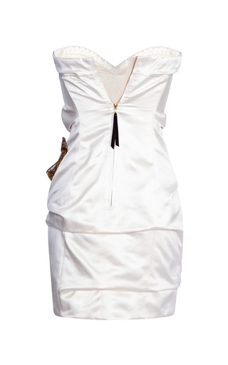Marc Jacobs - Ivory Silk Duchess Bustier Dress With Sequined Bow