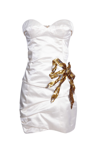 Ivory Silk Duchess Bustier Dress With Sequined Bow by Marc Jacobs for Preorder on Moda Operandi