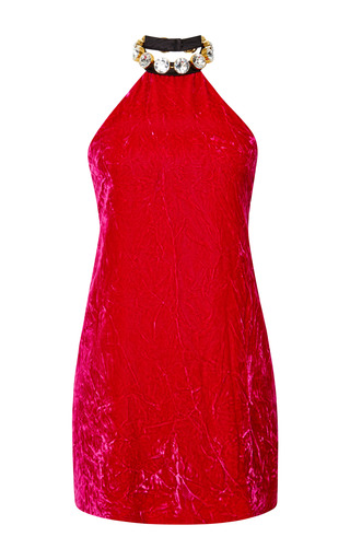 Crushed velvet mini dress with swarovski crystal halter neck by MARC JACOBS Preorder Now on Moda Operandi