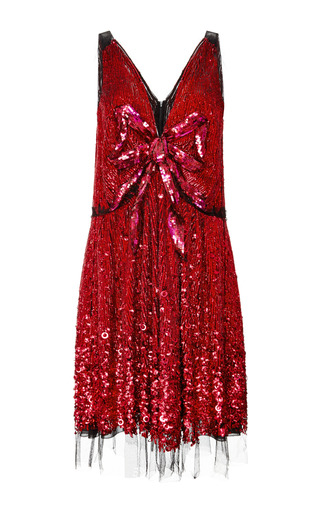 Red vintage sequin v-neck bow dress by MARC JACOBS Preorder Now on Moda Operandi