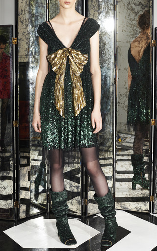 Emerald Vintage Sequin V-Neck Dress With Gold Bow by Marc Jacobs for Preorder on Moda Operandi