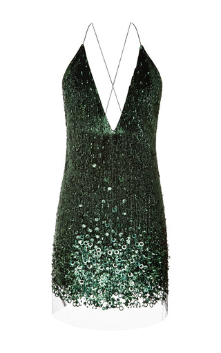 Marc Jacobs - Emerald Vintage Sequins Mini V-Neck Dress