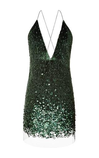 Emerald Vintage Sequins Mini V-Neck Dress by Marc Jacobs for Preorder on Moda Operandi
