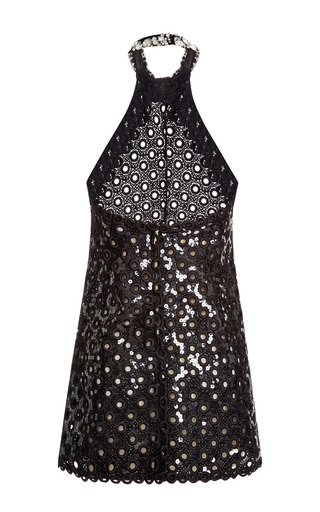 Marc Jacobs - Black Oversized Sequin Eyelet Mini Halter Dress