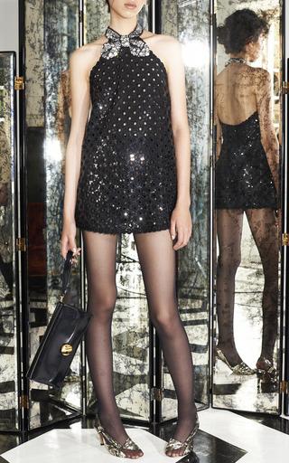 Black Oversized Sequin Eyelet Mini Halter Dress by Marc Jacobs for Preorder on Moda Operandi