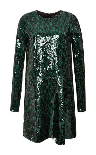 Emerald leopard sequin asymmetrical dress by MARC JACOBS Preorder Now on Moda Operandi