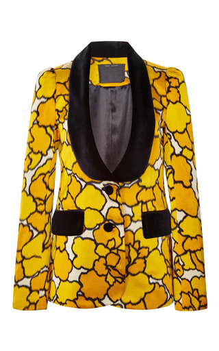 Gold Petal Tuxedo Jacket With Black Velvet Lapel by Marc Jacobs for Preorder on Moda Operandi