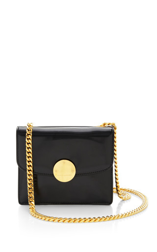 Mini trouble bag in polished black with deep gold by MARC JACOBS Preorder Now on Moda Operandi