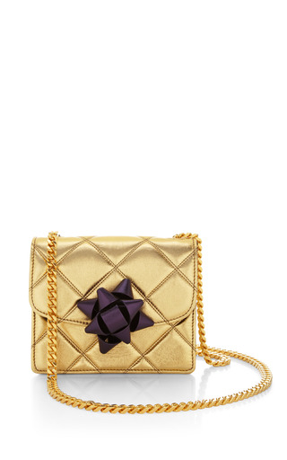 Mini trouble bag in metallic gold with violet party bow by MARC JACOBS Preorder Now on Moda Operandi