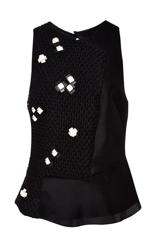 Sleeveless top with pailette embellishment in black by 3.1 PHILLIP LIM for Preorder on Moda Operandi